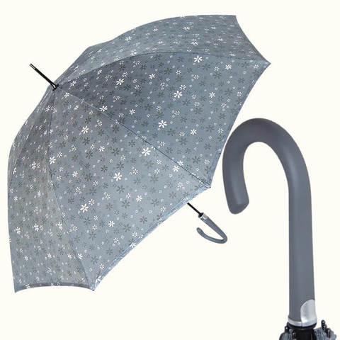 Купить перламутровый серый женский зонт-трость, Италия