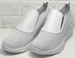 Белые сникерсы женские кроссовки без шнурков на резинке smart casual стиль летние Derem 1761-10 All White.