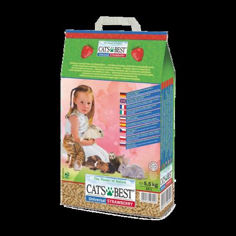 Cat's Best Universal Наполнитель для животных древесный впитывающий Клубника