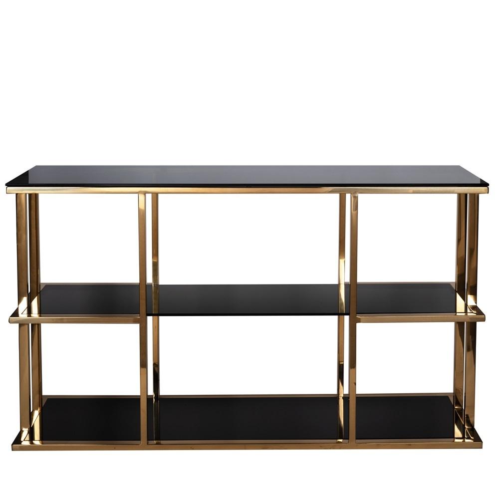 Консоль черное стекло/золото (46AS-CST4616-GOLD) Garda Decor