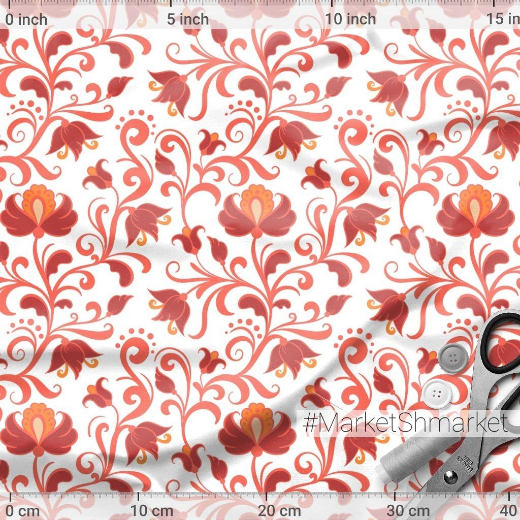 Красные цветочные ветви на белом фоне. (Дизайнер Irina Skaska)