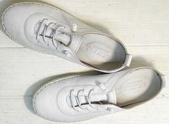 Кроссовки мокасины белые женские на шнурках Rozen 115 All White.