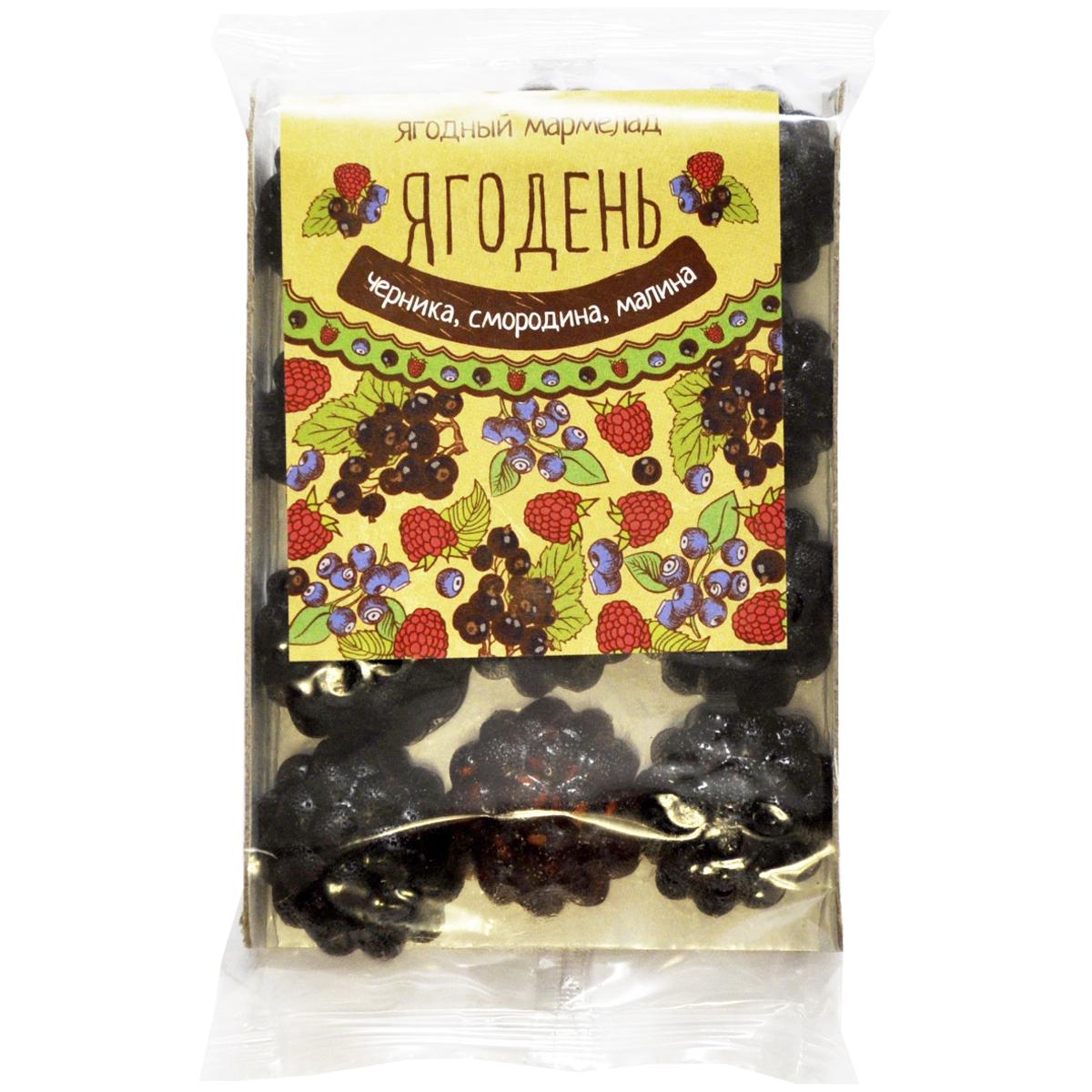 Мармелад Ягодень Сибирский Кедр ассорти: черника, смородина, малина 165 гр