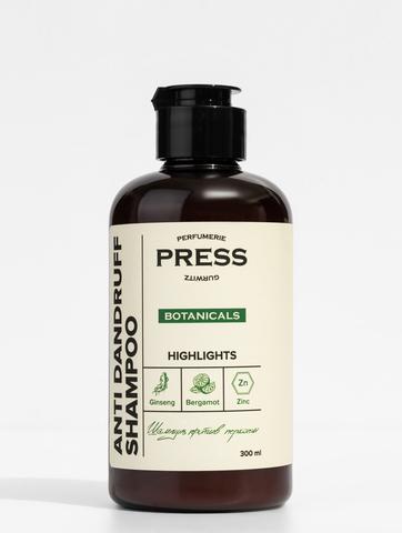 PRESS GURWITZ BOTANICALS Шампунь от перхоти с ароматом бергамота и цинком, натуральный, бессульфатный 300 мл