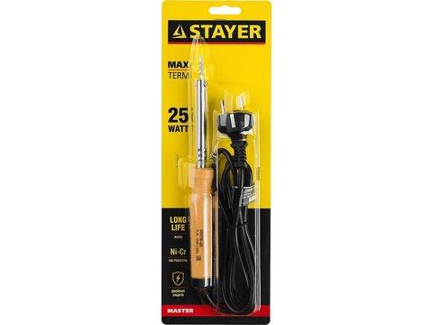 Паяльник MAXTerm с деревянной рукояткой, жало - конус, STAYER 55310-25, 25 Вт