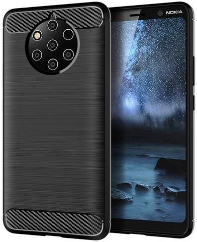 Чехол на Nokia 9 PureView цвет Black (черный), серия Carbon от Caseport