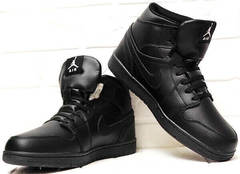 Джордан кроссовки ботинки мужские Nike Air Jordan 1 Retro High Winter BV3802-945 All Black