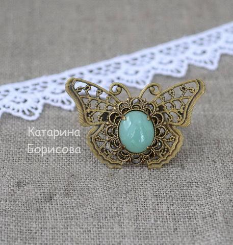 """Основа для кольца с филигранной бабочкой  41х27 мм (цвет - античная бронза) (Кольцо """"Бабочка"""". Пример)"""