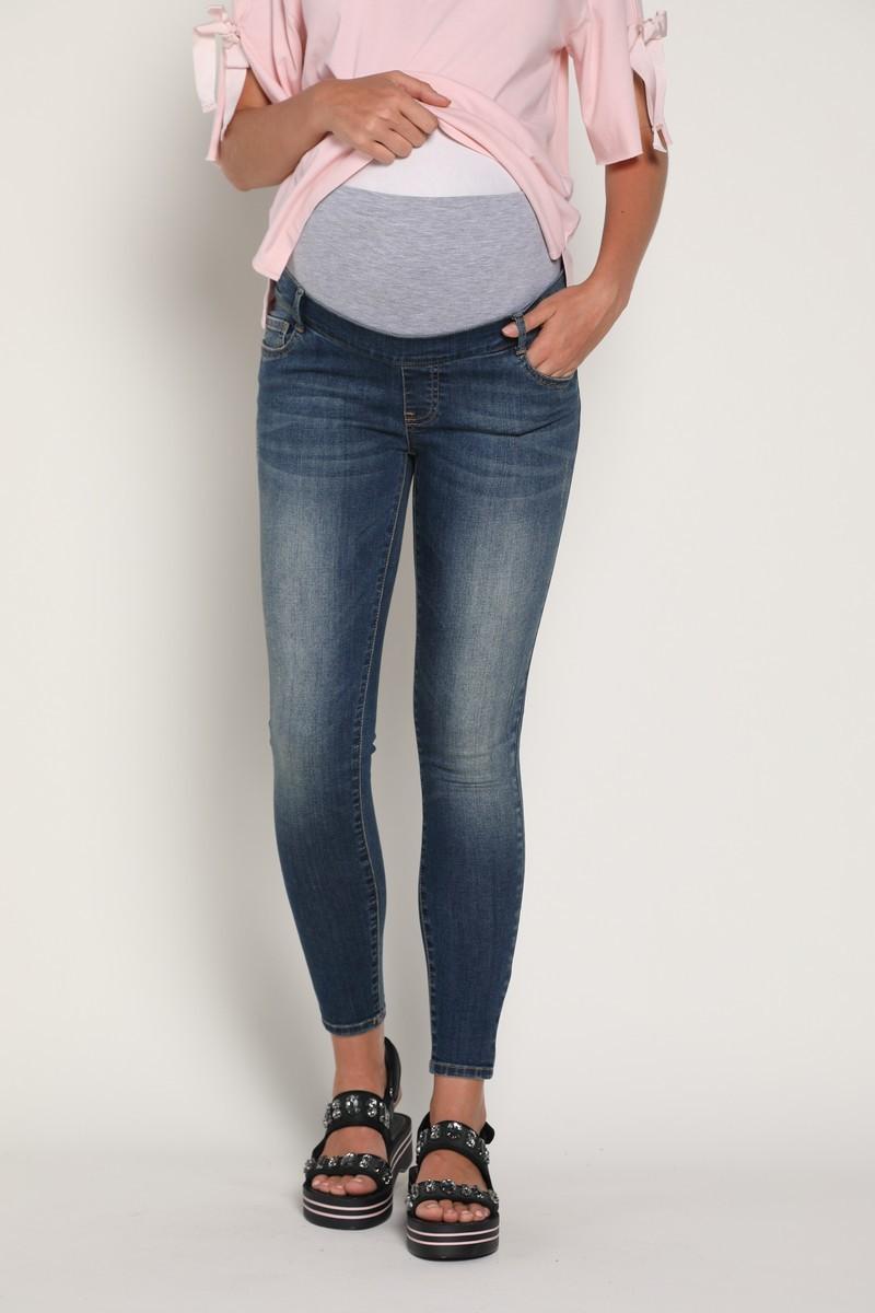 Фото джинсы для беременных GEBE, укороченные джинсы-скинни, средняя посадка, высокая трикотажная вставка от магазина СкороМама, синий, размеры.