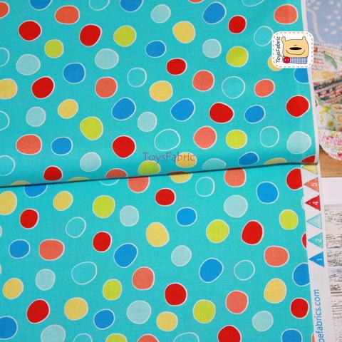 Ткань для пэчворка 20945 (пятнышки на бирюзе) 45х55см