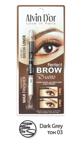 Alvin D`or P1-4 Дуэт для бровей двойной карандаш+Воск Brow Perfect (тон 03 Dark Grey)