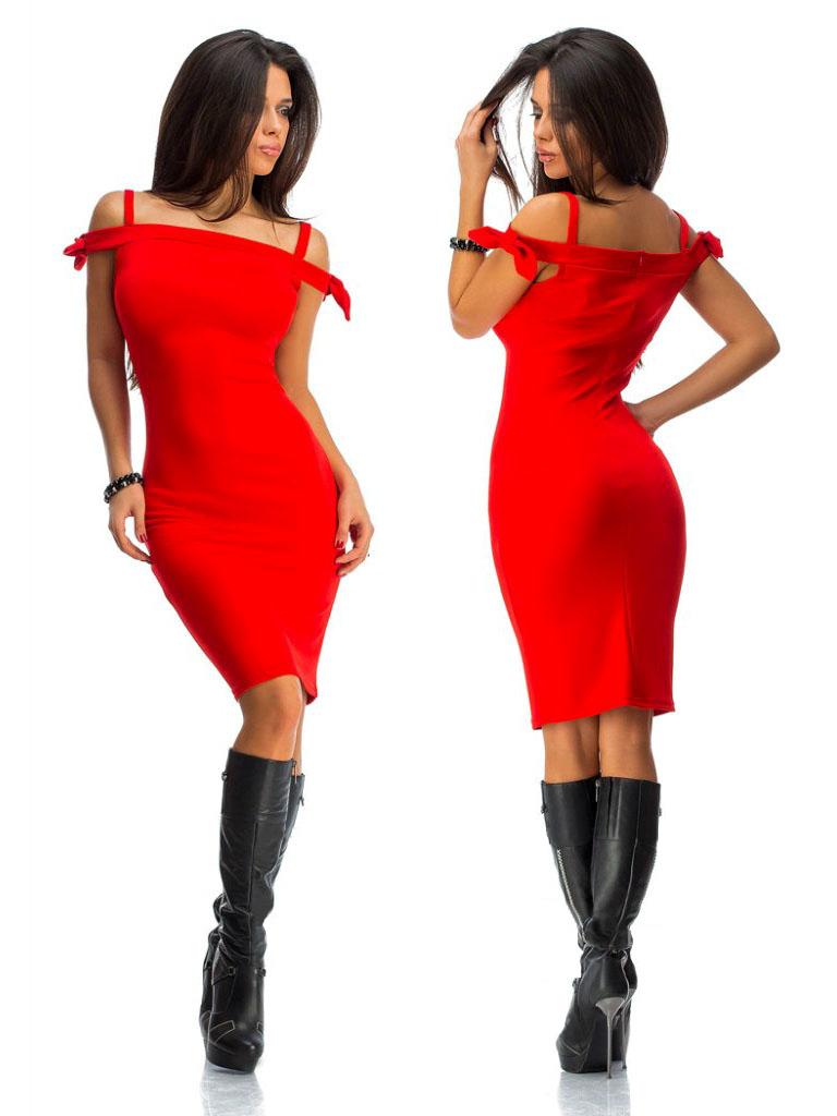 Платье миди с открытими плечами, цвет красный