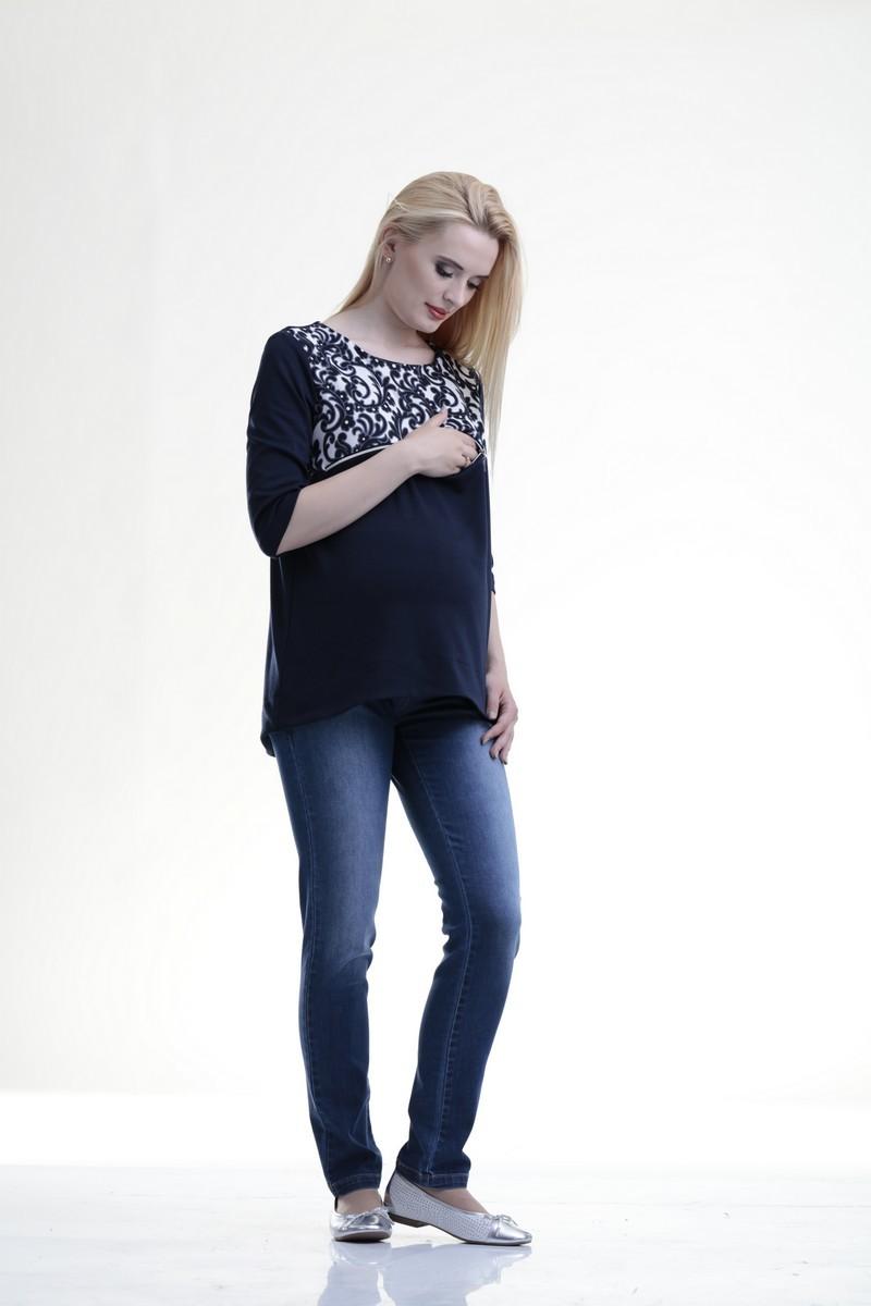 Туника для беременных и кормящих 07698 синий