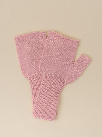 Женские митенки светло-розового цвета из 100% кашемира - фото 2