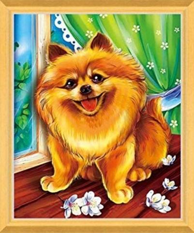 Алмазная Мозаика 5D 40x50 Счастливый щенок
