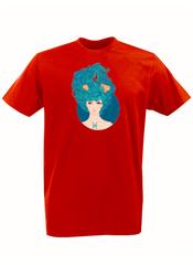 Футболка с принтом Знаки Зодиака, Рыбы (Гороскоп, horoscope) красная 002