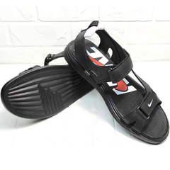 Кожаные босоножки сандалии мужские Nike 40-3 Leather Black.