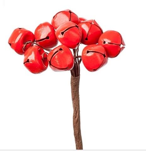 Набор колокольчиков на вставках 10шт., размер: D1,5хH9см, цвет: красный