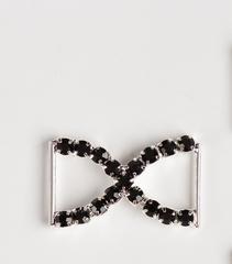 Пряжка со стразами декоративная, металлическая, 26*15 мм, 1 шт.