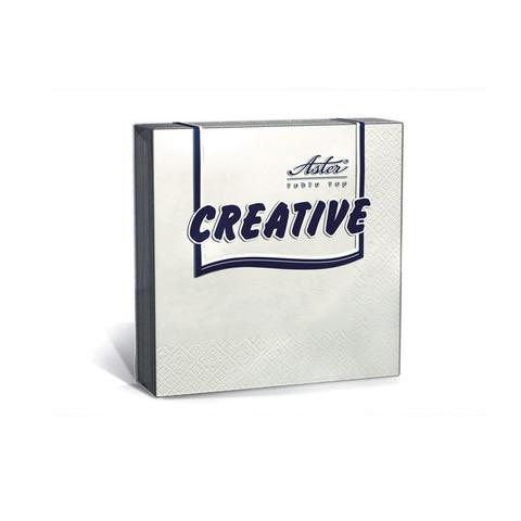 Салфетки бумажные Aster Creative 33x33 см белые 3-слойные 20 штук в упаковке