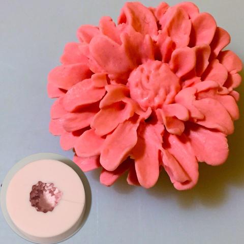Молд 3D силиконовый  цветы  ЦИННИЯ БОЛЬШАЯ (D-85мм H-40мм)