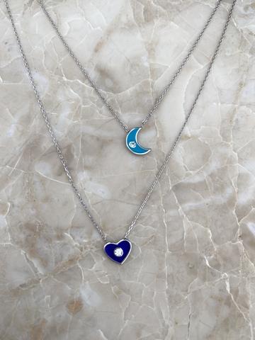 Колье Эдир из серебра с голубым месяцем и синим сердечком