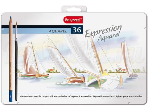 Набор из 36 акварельных карандашей Bruynzeel Expression Aquarel + кисть