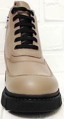 Кожаные ботинки на шнуровке женские Yudi B-20 082 Beige.