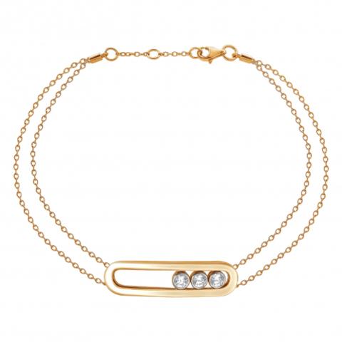 01Б152678А - Браслет из золоченого серебра с двигающимися фианитами