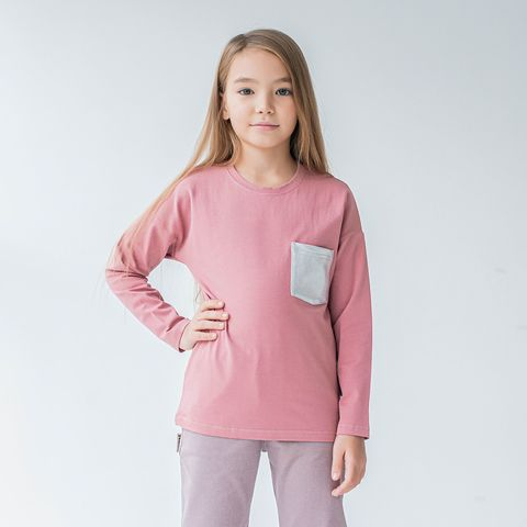 Basic long-sleeved T-shirt for teens - Tea Rose