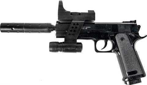 Страйкбольный пистолет Galaxy G.053A Colt 1911 с глушителем пластиковый, пружинный