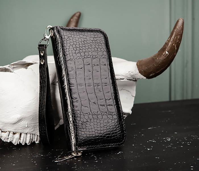 WB191-1 Клатч на молнии из кожи «под крокодила», ручная работа фото 04