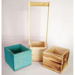 Набор из кашпо с ручкой и 2 деревянных ящиков