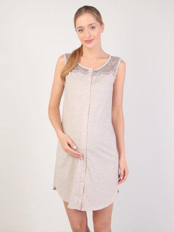 Евромама. Сорочка-халат на пуговках для беременных и кормящих, меланж бежевый вид 1