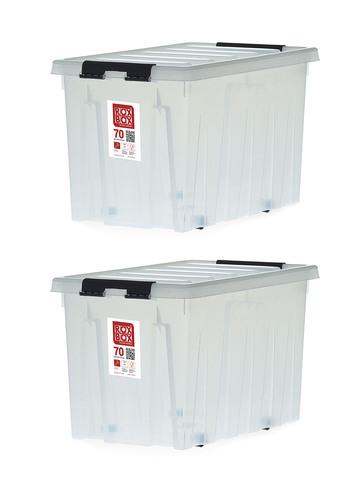 Ящик для хранения RoxBox с крышкой на роликах прозрачный 70 литров, набор из 2 штук