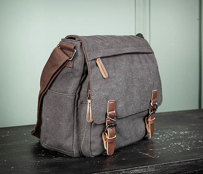 BAG504-1 Удобная городская сумка портфель из ткани серого цвета фото 03