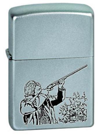 Зажигалка Zippo Hunter с покрытием Satin Chrome, латунь/сталь, серебристая, матовая, 36x12x56123