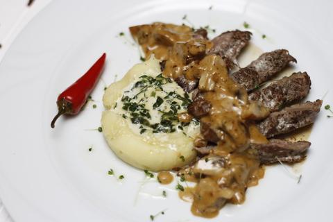 Филе говядины с белыми грибами