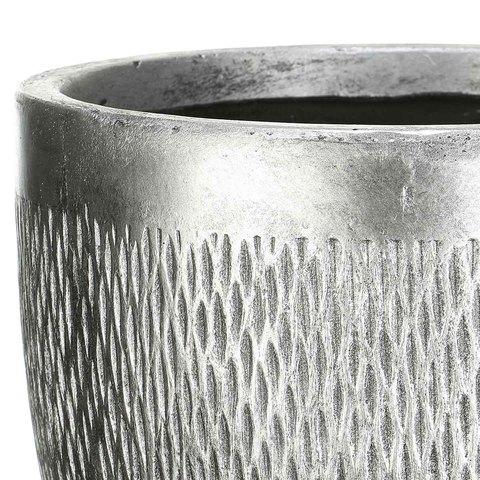 MESHR26-SLV Кашпо Лотус Круглое, файберстоун, серебро, D26.5 H24.5 cm