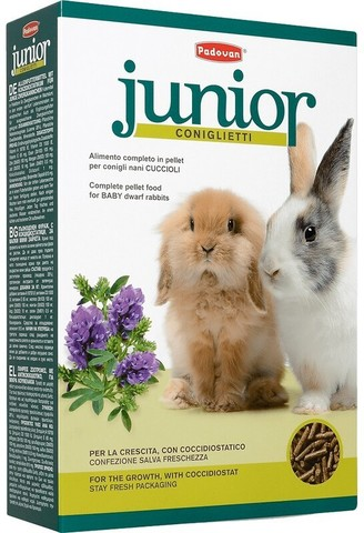 Padovan Junior Coniglietti корм для молодых декоративных кроликов комплексный уход 850г