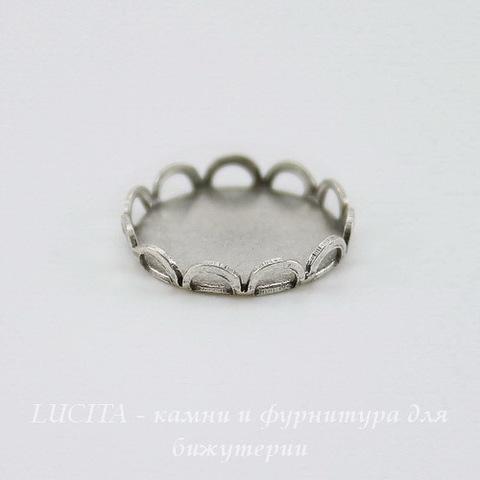 Сеттинг - основа для камеи или кабошона 11 мм (оксид серебра) ()