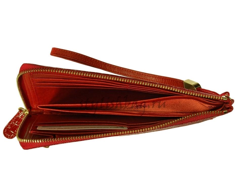 Женский кошелек-клатч 59050 красный лакированный Moro Jenny