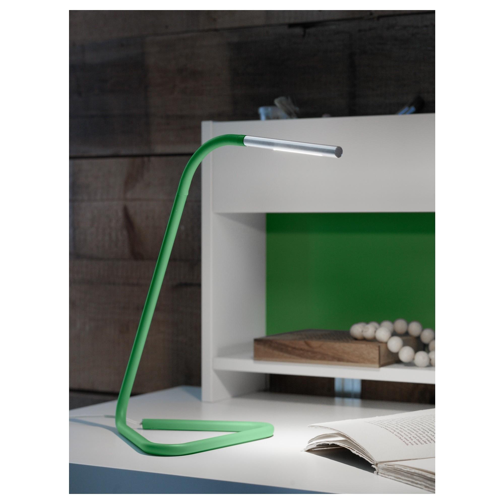 ХОРТЕ Рабочая лампа, светодиодная зеленый, серебристый