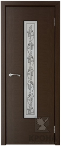 Дверь Крона Карат, стекло матовое с шелкографией, цвет венге, остекленная