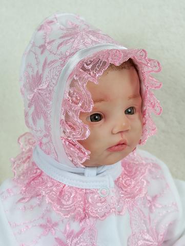 Шапочка чепчик Мальвина (белый/розовый)