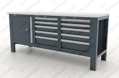 Верстак металлический трехтумбовый с дверцой/ 5ящ./ 5ящ. серия Premium, 11.41055, Ferrum