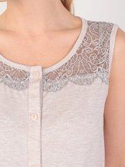 Евромама. Сорочка-халат на пуговках для беременных и кормящих, меланж бежевый вид 4