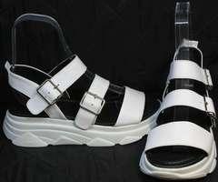Удобные сандалии женские кожа Evromoda 3078-107 Sport White