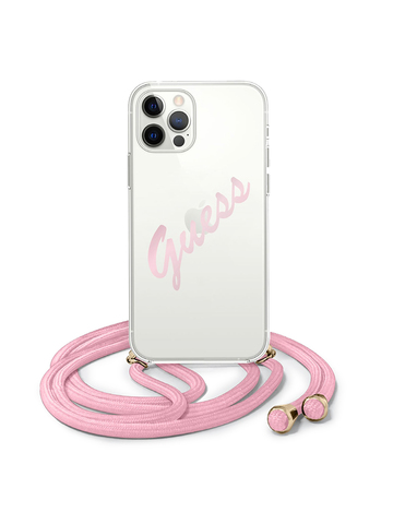 Чехол Guess для iPhone 12/12 Pro | PC/TPU ремень розовый