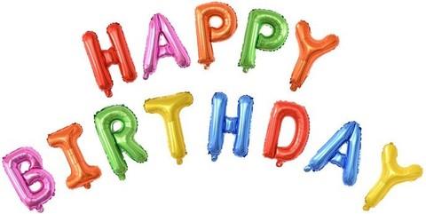 Фольгированная надпись Happy Birthday ассорти